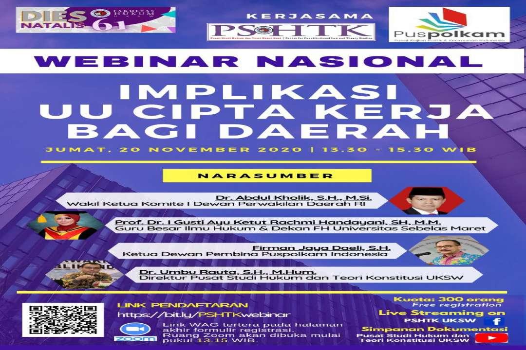 Webinar Nasional : Implikasi UU Cipta Kerja Bagi Daerah